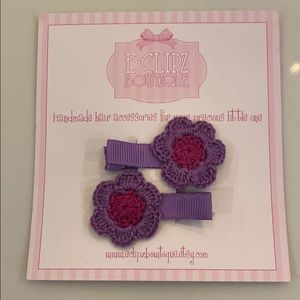 New handmade crochet girls' flower hair clips